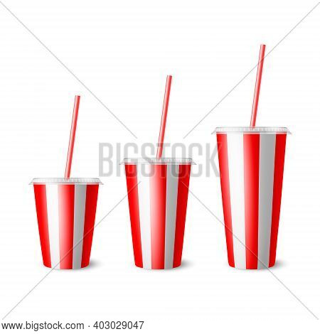 Vector 3d Realistic Red Striped Paper Disposable Cup Set, Lid, Straw. Beverage, Drinks, Coffee, Soda