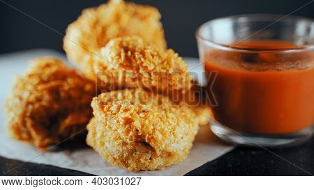 A Fried Crispy Chicken Nuggets With Ketchup.