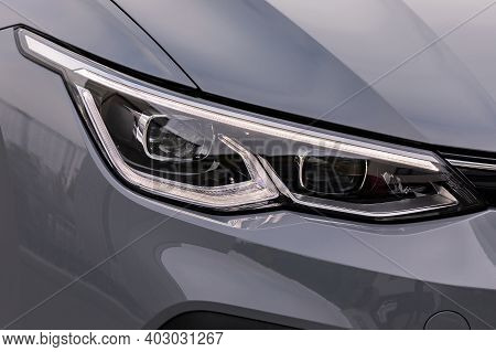 Front Light Of A Grey Car, Led Technology