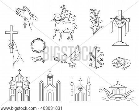 Religious Christian Signs And Symbols. Set Icons Crown Of Thorns, Church,  Flying Pigeon, Fish And S