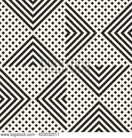 Vector Geometric Seamless Pattern With Lines, Grid, Stripes, Squares, Rhombuses, Triangles, Repeat T
