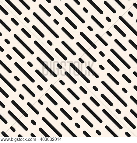 Dash Line Pattern. Vector Monochrome Seamless Texture With Diagonal Parallel Rounded Lines. Abstract
