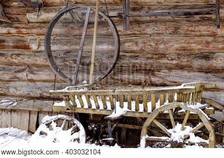 Kaluga Russia - January 05, 2021: Etnomir. Traditional Wooden Two-story House. Exposition Of The Cul