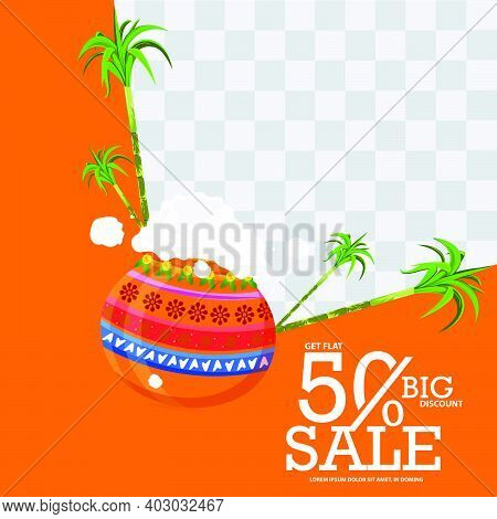 Illustration Of Happy Pongal Greeting Card Background. Design With 50% Discount Illustration