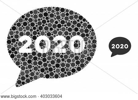 2020 Message Cloud Composition Of Filled Circles In Variable Sizes And Color Hues. Vector Filled Cir