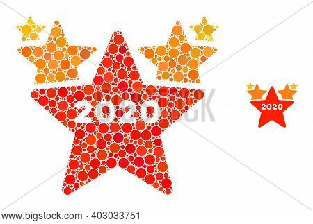 2020 Stars Hit Parade Collage Of Filled Circles In Different Sizes And Color Tints. Vector Filled Ci