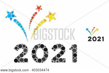 2021 Fireworks Composition Of Circle Elements In Variable Sizes And Color Tones. Vector Circle Eleme