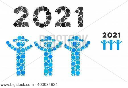2021 Gentlemen Dance Collage Of Circle Elements In Different Sizes And Color Hues. Vector Circle Ele