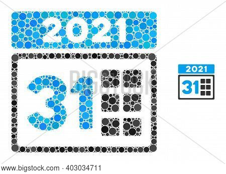 2021 Last Day Mosaic Of Round Dots In Variable Sizes And Color Tones. Vector Round Dots Are Grouped