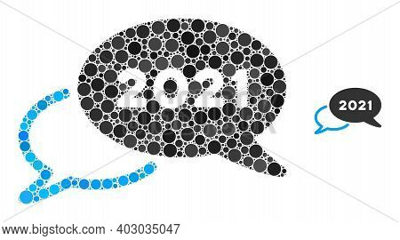2021 Webinar Collage Of Dots In Different Sizes And Color Tinges. Vector Round Dots Are Organized In