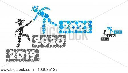 2021 Year Guy Help Collage Of Round Pixels In Various Sizes And Color Hues. Vector Round Dots Are Or