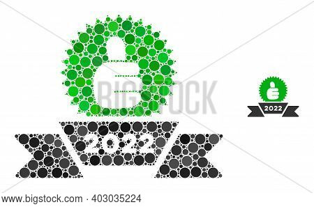 2022 Award Ribbon Mosaic Of Filled Circles In Various Sizes And Color Tones. Vector Filled Circles A