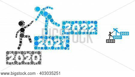 2022 Buisiness Training Stairs Composition Of Filled Circles In Different Sizes And Shades. Vector F