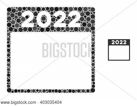 2022 Calendar Composition Of Round Dots In Variable Sizes And Color Tinges. Vector Round Dots Are Gr