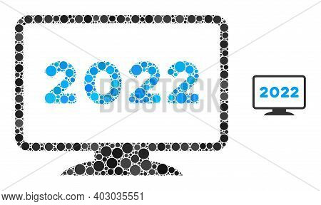 2022 Display Mosaic Of Round Dots In Various Sizes And Color Tinges. Vector Round Dots Are Combined