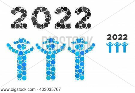 2022 Gentlemen Dance Collage Of Round Dots In Different Sizes And Color Tints. Vector Dots Are Combi