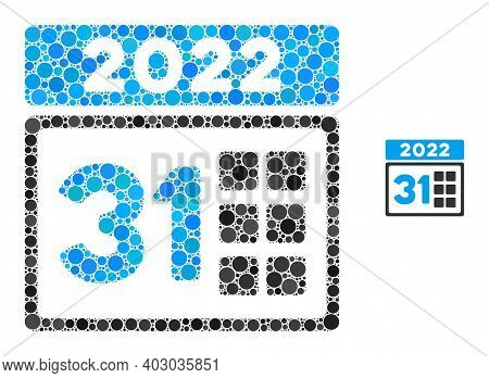 2022 Last Day Collage Of Round Pixels In Different Sizes And Color Tones. Vector Round Dots Are Comp