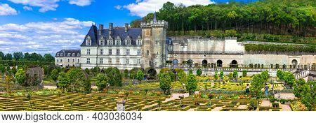 Most beautiful castles of Europe - chateau Villandry with splendid botanical gardens . Loire valley, France , april 2017