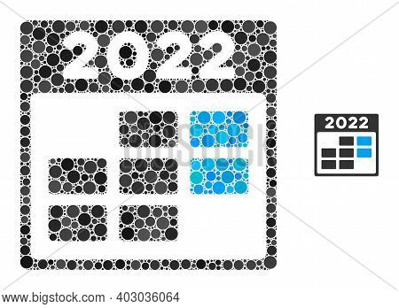 2022 Week Calendar Mosaic Of Dots In Various Sizes And Shades. Vector Dots Are United Into 2022 Week