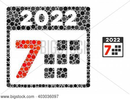 2022 Year 7 Days Collage Of Filled Circles In Various Sizes And Color Tones. Vector Filled Circles A