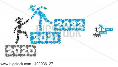 2022 Year Guy Help Composition Of Round Pixels In Variable Sizes And Color Tints. Vector Round Dots