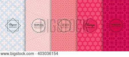 Vector Geometric Seamless Patterns Collection. Set Of Elegant Colorful Background Swatches With Mode