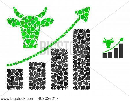 Bullish Market Trend Composition Of Circle Elements In Different Sizes And Color Tinges. Vector Circ
