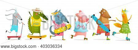 Cool Baby Animals For Kids Skating With Roller Blades And Skateboard Or Longboard. Fun Cartoon Desig