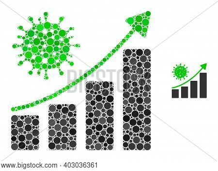 Coronavirus Growing Trend Composition Of Filled Circles In Variable Sizes And Color Tints. Vector Do