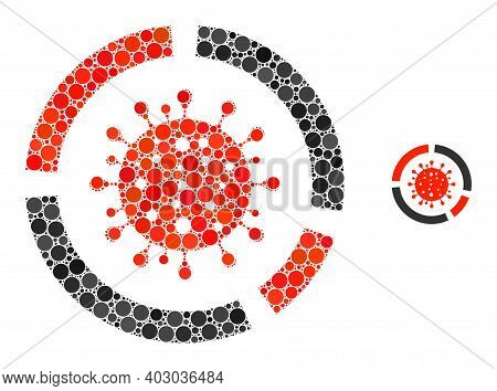 Covid Diagram Collage Of Circle Elements In Different Sizes And Color Tinges. Vector Circle Elements