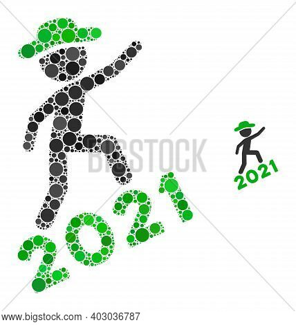 Gentleman Climbing 2021 Collage Of Round Pixels In Different Sizes And Color Tones. Vector Round Ele