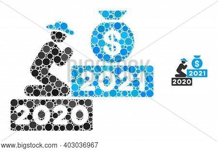 Gentleman Pray For Money 2021 Composition Of Filled Circles In Different Sizes And Color Tints. Vect