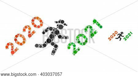 Gentleman Run To 2021 Mosaic Of Circle Elements In Variable Sizes And Color Tinges. Vector Round Dot