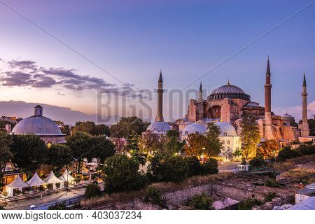 Hagia Sophia In Istanbul. The World Famous Monument Of Byzantine Architecture Recently Converted To