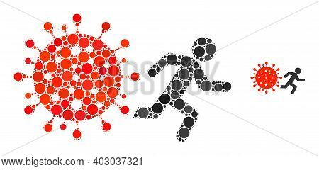 Man Run Away Covid Collage Of Round Dots In Various Sizes And Color Hues. Vector Round Dots Are Orga