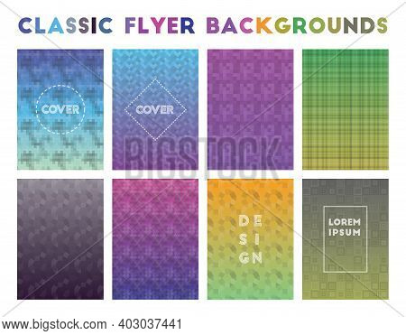 Classic Flyer Backgrounds. Alluring Geometric Patterns, Fancy Vector Illustration.