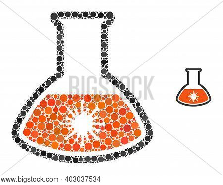 Virus Analysis Retort Mosaic Of Round Dots In Various Sizes And Shades. Vector Round Dots Are Groupe