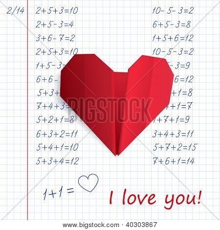 Red paper origami heart in exercise book on mathematics