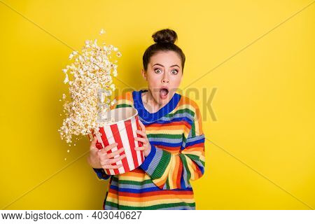 Photo Of Young Woman Watch Horror Movie Terrified Horrified Scared Isolated Over Yellow Color Backgr