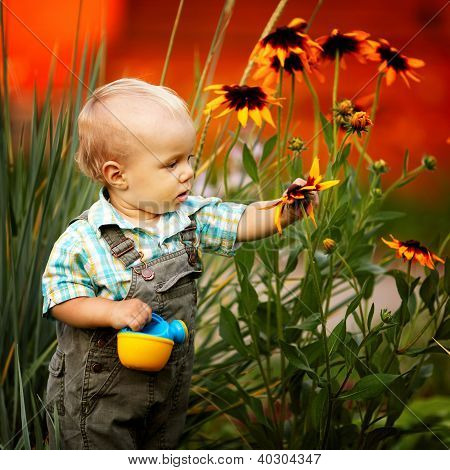 Little Boy With A Watering Can and Flowers