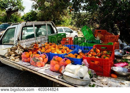 Old Pick Up Full Of Ripe Oranges. Selling Fresh Oranges From A Car, A Farmer Selling His Crop, Picku