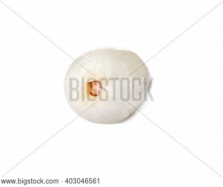 Peeled Ripe Lychee Fruit Isolated On White