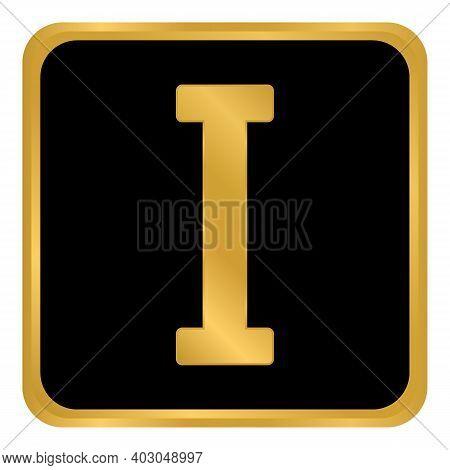 Golden Roman Numeral One Button. Vector Illustration.
