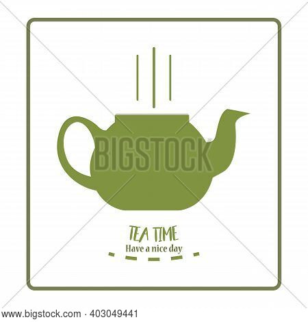 Tea Time Concept, Green Tea Leaves, Smiley Face On Teapot. Green Tea In Porcelain Teapot, Natural Or
