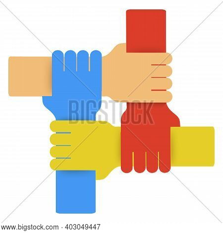 Hands Of Diverse Group Of People Putting Together. Concept Of Teamwork, Cooperation, Unity, Together