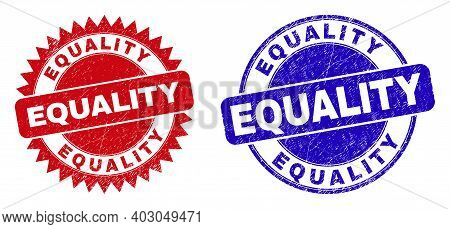 Rounded And Rosette Equality Seal Stamps. Flat Vector Scratched Seal Stamps With Equality Slogan Ins