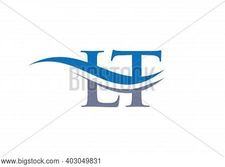 Lt Letter Logo Design. Premium Letter Lt Logo Design With Water Wave Concept.