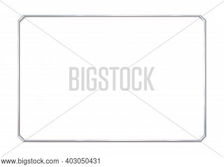 Rectangle Realistic Frame Metal Or Silver With Cut Corners. Slender On White Background. Steel, Phot
