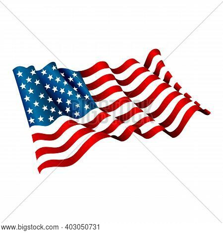 Usa Flag Waving In The Wind Isolated On White . American Flag