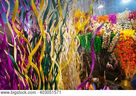 Cane Made Artificial Colored Flowers And Plants, Handicrafts For Sale In Handicraft Fair In Kolkata-